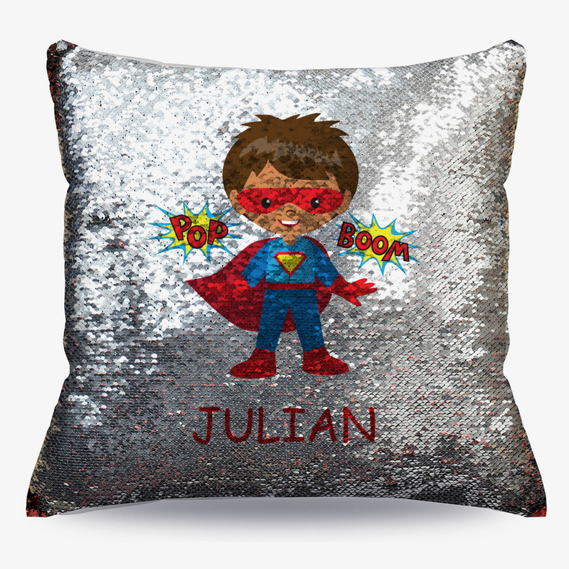 Personalized Kids Character Superhero Flip Sequin Decorative Cushion Cover