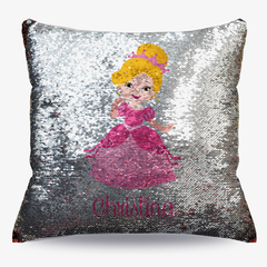 Personalized Kids Princess Flip Sequin Decorative Cushion Cover