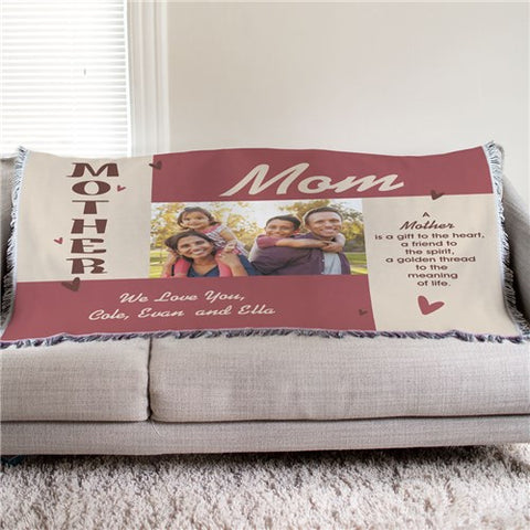 Personalized Mother Photo Tapestry Throw