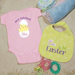 Personalized My First Easter Blue Bib Set