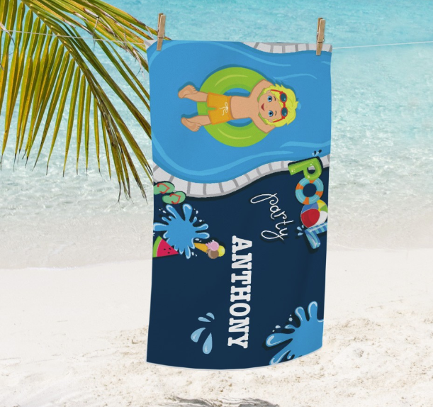 Personalized Pool Party Boys Beach Towel