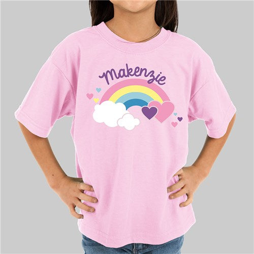 Personalized Rainbow and Hearts Kids T-shirt