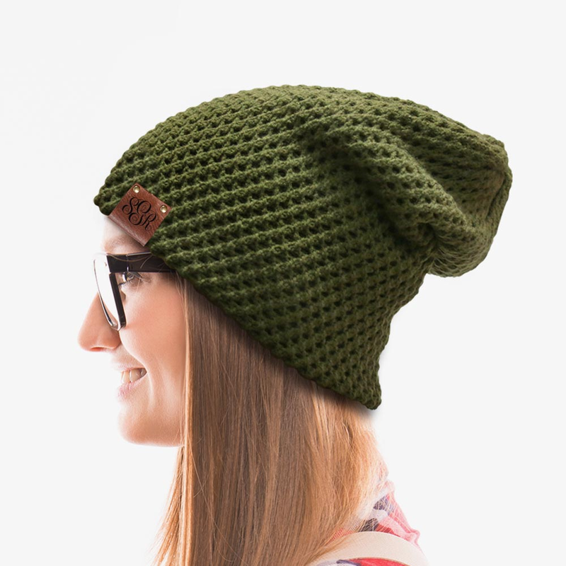 Unisex Scroll Monogram Leather Tab Slouchy Beanie