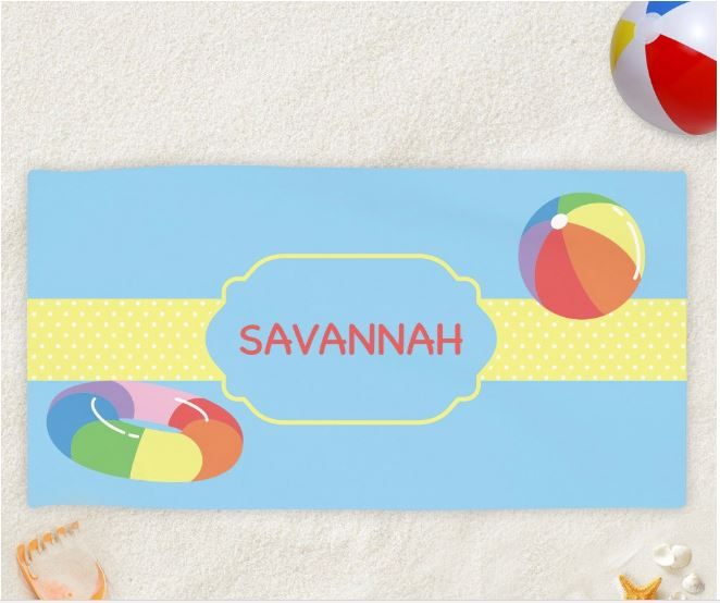 Pool Fun Personalized Kids Beach Towel
