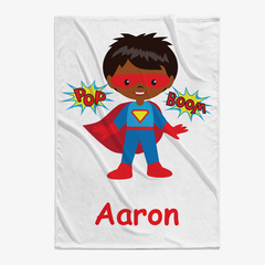 Superhero Custom Boys Character Plush Baby Blanket