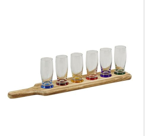 7 Piece Tavern Tasting Set with 6 Glasses & Wood Paddle Rack