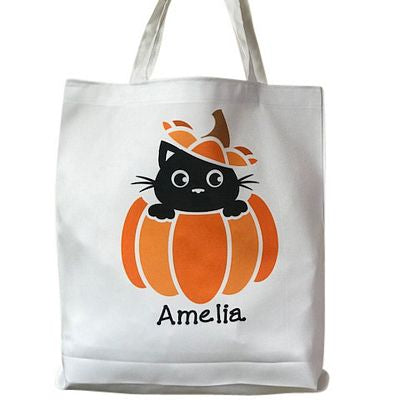 Personalized Halloween Kitty Treat Bag