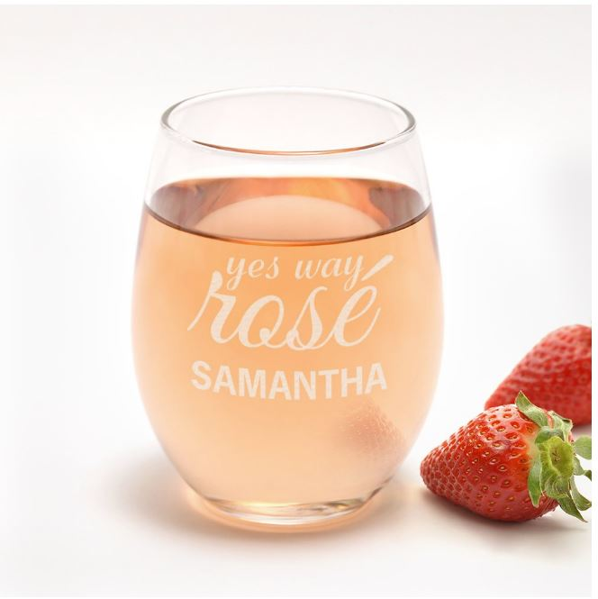 Yes Way Rose Personalized Stemless Wine Glass
