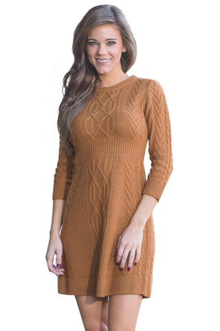 Brown 3/4 Sleeve Cable Knit Fitted Sweater Dress