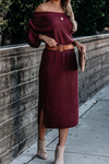 Red Ribbed Long Sleeve Midi Sweater Dress
