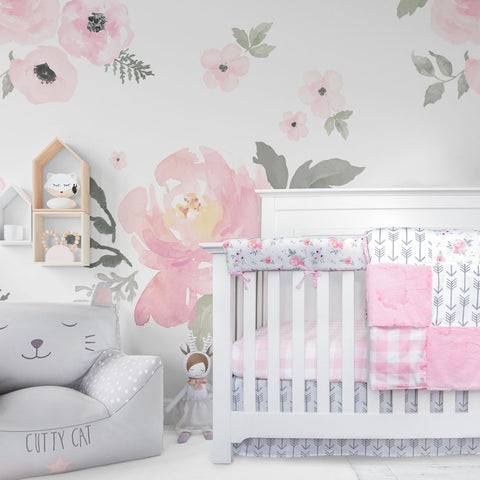 Crib Bedding Set - Pink Plaid and Floral Collection