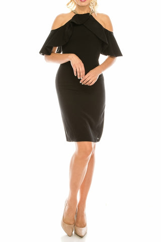 Odrella Black Beaded Halter Ruflled Cold Shoulder Dress