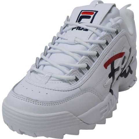 Fila Women's Disruptor Ii Script White/Navy Red Ankle-High Leather Sneakers