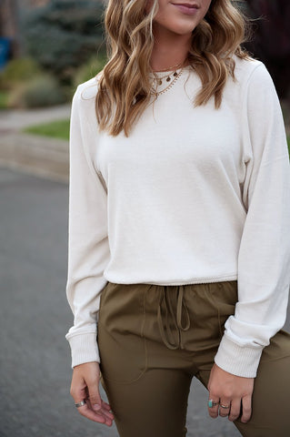 Georgia Super-soft Contrast Side Sweater in Cream