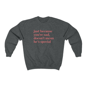 Just Because You're Sad Doesn't Mean He's Special Sweatshirt