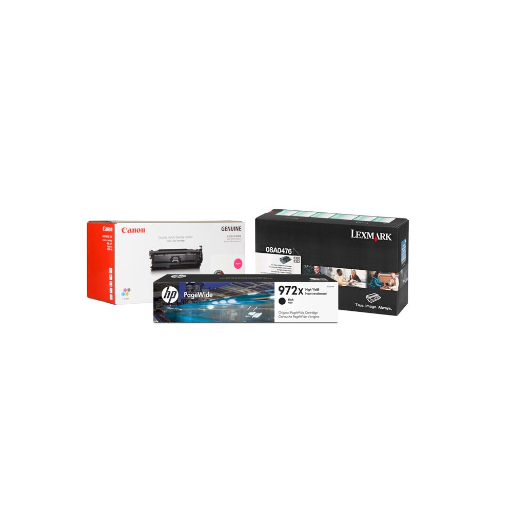 HP, Canon, and Lexmark toner boxes