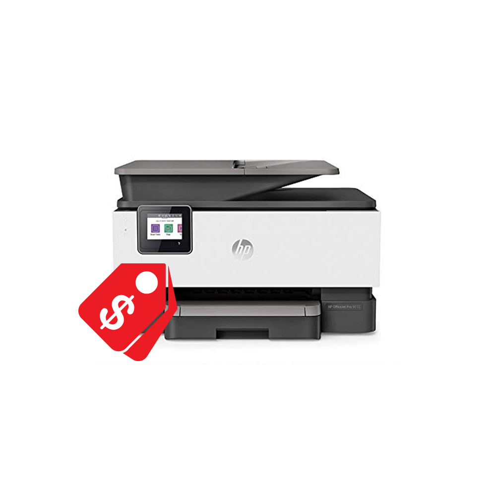 Desktop printer with red sales tag icon