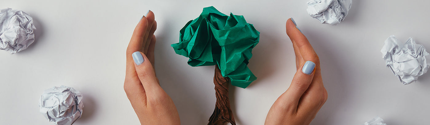 MPS recycled paper reducing waste in the shape of a tree