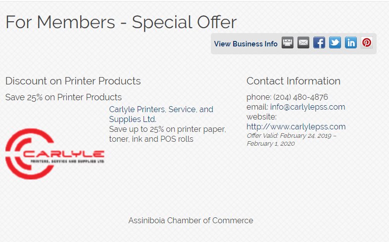 Carlyle Discount for The Assiniboia Chamber of Commerce Members