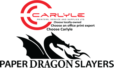 Carlyle Printers, Service and Supplies Paper Dragon Slayers Logo