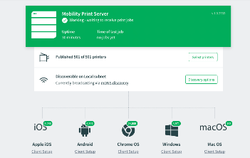 Mobility print server dashboard