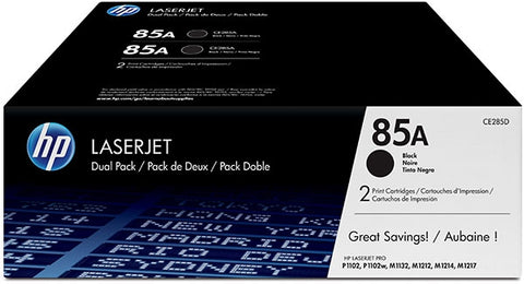 HP 85A (CE285D) LaserJet Pro P1102 P1109 M1212 M1217 MFP 2-Pack Black Original LaserJet Toner Cartridges (2 x 1600 Yield)