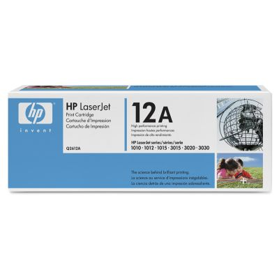 HP 12A (Q2612A) LaserJet 1012 1018 1020 1022 3015 3020 3030 3050 3052 3055 M1319f MFP Black Original LaserJet Toner Cartridge (2000 Yield)
