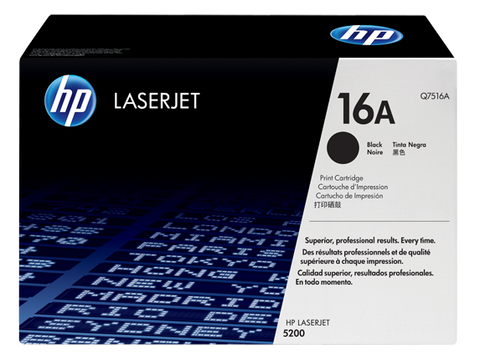 HP 16A (Q7516A) LaserJet 5200 Black Original LaserJet Toner Cartridge (12000 Yield)
