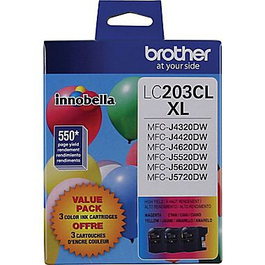 Brother Industries, Ltd MFC-J4320DW J4420DW J4620DW J5520DW J5720DW High Yield C/M/Y Ink Cartridge 3-Pack (Includes OEM# LC203C LC203M LC203Y) (3 x 550 Yield)