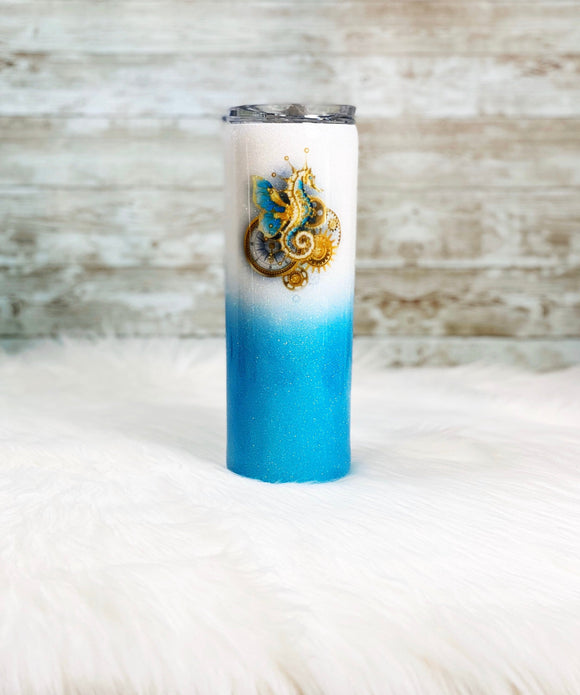 Seahorse Blue and white Ombré 20oz - Personalized/Custom Ombre Glitter Tumbler with Straw