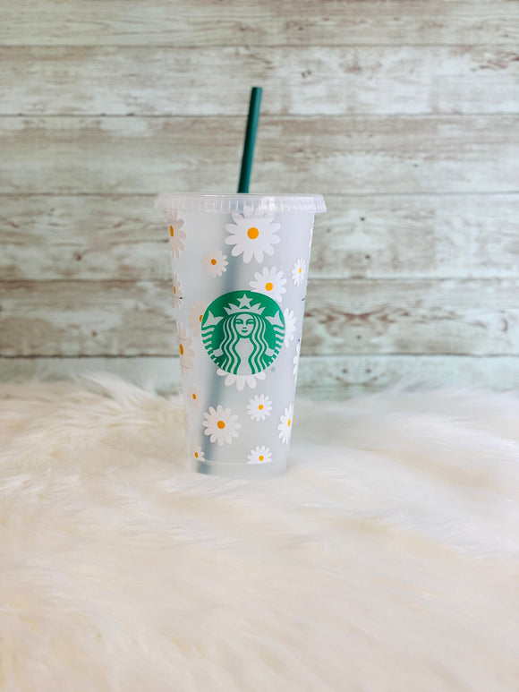Personalized Daisy Starbucks Cold Cup - Personalized Starbucks Cup - Floral Starbucks Cup - Ready to Ship - 2-3 Day Priority Shipping