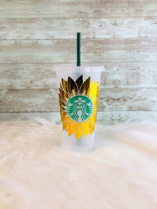 Personalized Sunflower Starbucks Cold Cup - Ready to Ship - 2-3 Day Priority Shipping