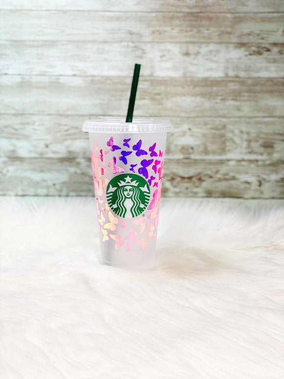 Personalized Pink Butterflies Starbucks Cold Cup - Pink Holographic Vinyl - Ready to Ship - 2-3 Day Priority Shipping
