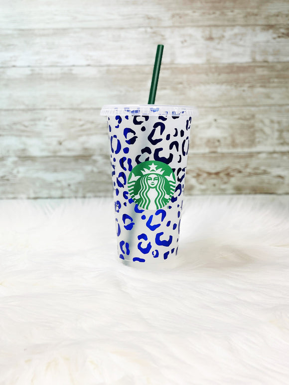 Blue Leopard Print Starbucks Cold Cup - Blue Holographic Vinyl - Ready to Ship - 2-3 Day Priority Shipping