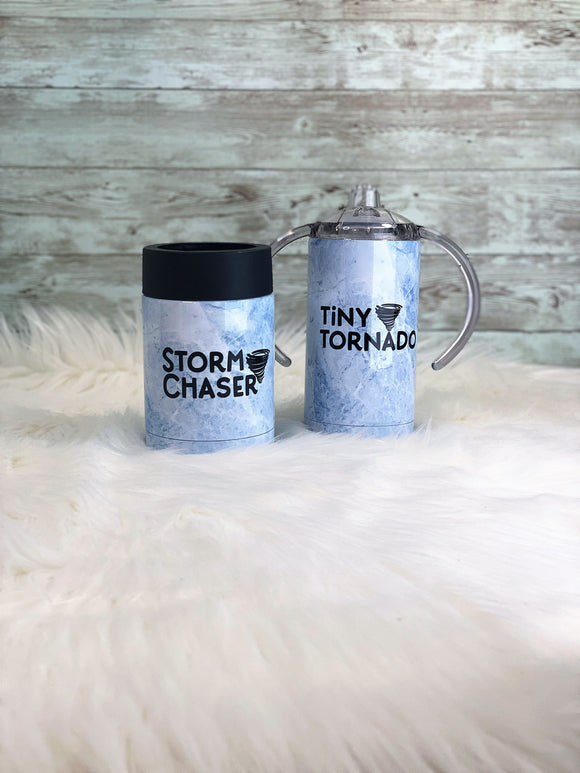 Storm Chaser and Little Tornado Beer Coozie & 12oz Sippy Cup OR 15oz Tumbler Dad and Me Set Different Colors Avail 2-3 Day Priority Shipping