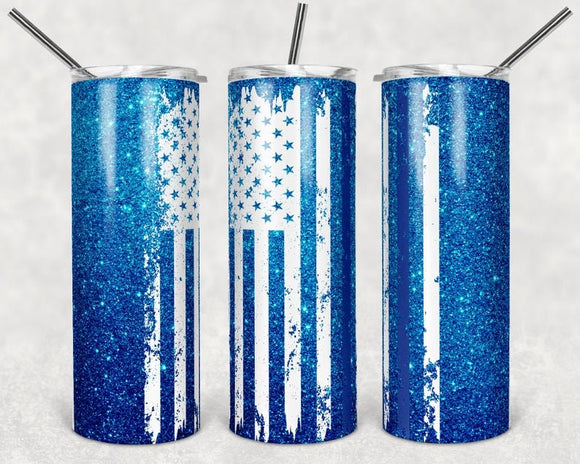 Blue Line Flag - 20oz Skinny Tumbler with Straw and Anti-Slip Silicone Bottom - Ready to Ship - 2-3 Day Priority Shipping