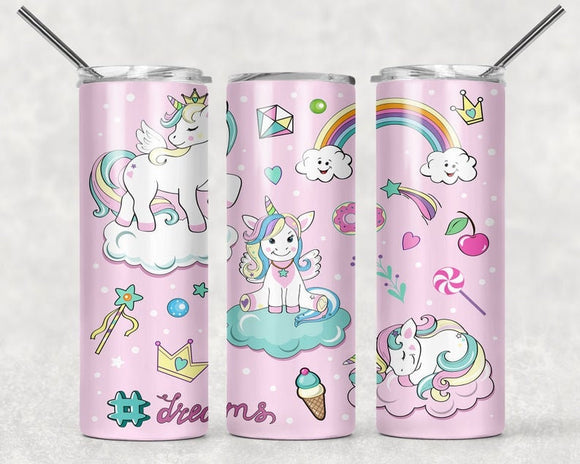 Unicorn Dreams and Rainbows - 20oz Skinny Tumbler with Straw and Anti-Slip Silicone Bottom - Ready to Ship - 2-3 Day Priority Shipping