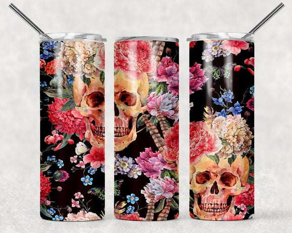 Floral Skulls 20oz Skinny Tumbler with Straw and Anti-Slip Silicone Bottom- 2-3 Day Priority Shipping