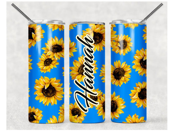Sunflowers on Blue Background - Personalized 20oz Skinny Tumbler with Straw and Anti-Slip Silicone Bottom - 2-3 Day Priority Shipping