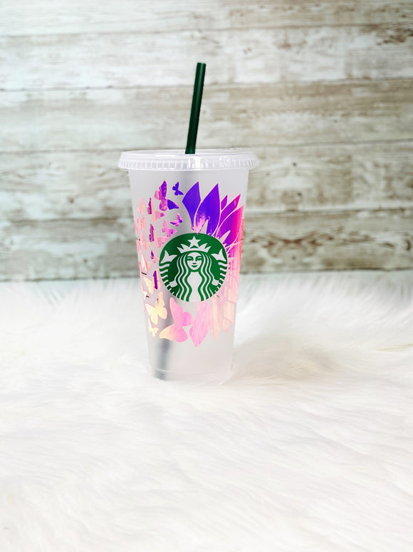 Personalized Pink Butterfly Sunflower Starbucks Cold Cup - Pink Holographic Vinyl - Ready to Ship - 2-3 Day Priority Shipping