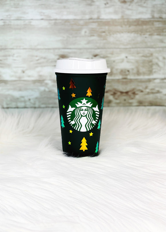 Color Changing Starbucks Hot Cup Christmas Tree - Green to Red - Gold/Green Holographic Vinyl - Ready to Ship - 2-3 Day Priority Shipping