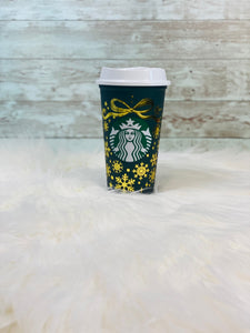Christmas Color Changing Starbucks Hot Cup -  Christmas Green to Red - Gold Vinyl - Ready to Ship - 2-3 Day Priority Shipping