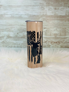 Hunting Flag and Deer on Woodgrain Background - 20oz Skinny Tumbler with Straw and Anti-Slip Silicone Bottom- 2-3 Day Priority Shipping