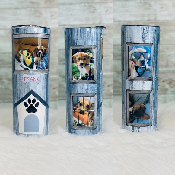 Your Dog Pictures on a tumbler 20oz Skinny Tumbler with Straw and Anti-Slip Silicone Bottom - Ready to Ship - 2-3 Day Priority Shipping