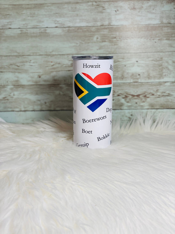 South African Flag Heart - 15 oz Tumbler with Anti-Slip Silicone Bottom