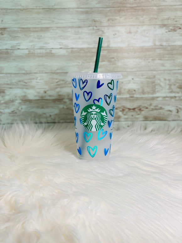 Personalized Blue Holographic Hearts Starbucks Cold Cup - Ready to Ship - 2-3 Day Priority Shipping