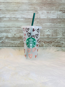 Personalized Rose Gold Hearts Starbucks Cold Cup - Ready to Ship - 2-3 Day Priority Shipping