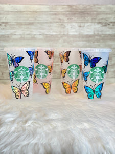 Personalized Butterfly Starbucks Cold Cup with Holographic Vinyl - Ready to Ship - 2-3 Day Priority Shipping