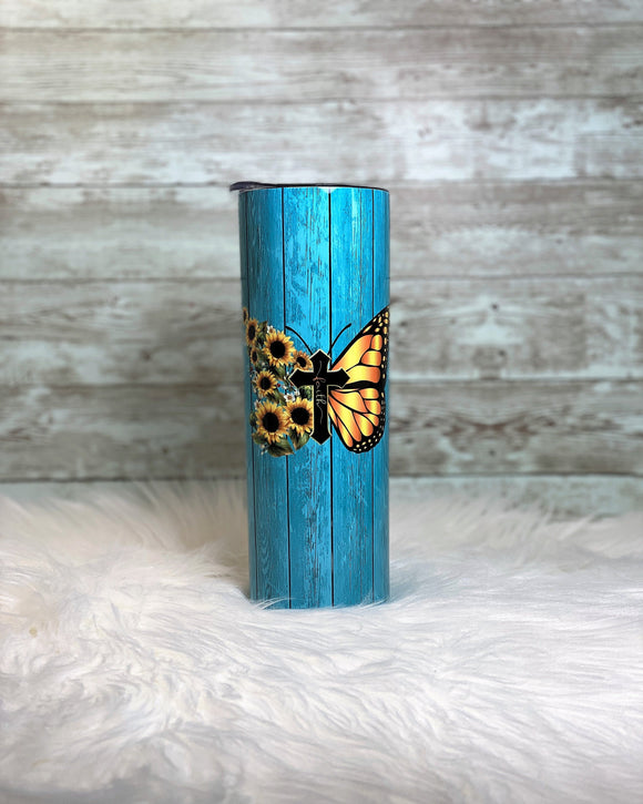 Personalized Faith Sunflower Butterfly - Teal Woodgrain 20oz Skinny Tumbler with Straw and Anti-Slip Silicone Bottom