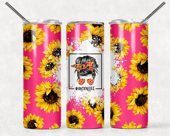 Sunflower Tumbler | #MomLife | Mom Life Tumbler | Pink Tumbler | 20oz Skinny Tumbler with Metal Straw - Free 2-3 Day Priority Shipping